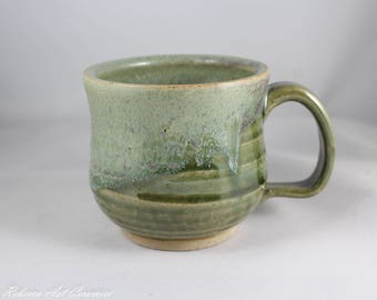 Wheel-thrown Stoneware Mug with Green Glaze