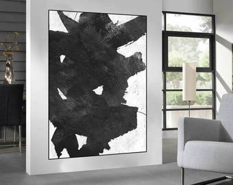 black and white abstract art, canvas art, original painting, large acrylic painting, Contemporary Painting