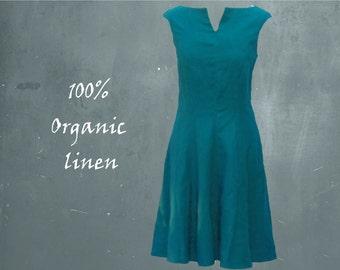 linen dress, organic linen swing dress, retro dress biological linen, linen summer dress, fair trade, sustainable clothing, fair fashion