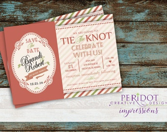 "Tie The Knot Wedding Invitation - 5""x7"" - Custom Colors Available"