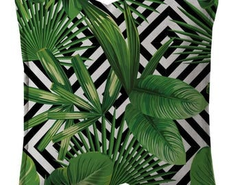"Printed cushion cover ""Palm geometry"""
