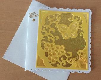 Handmade birthday card, handmade greetings card, die cut decorations, Female birthday card, butterflies