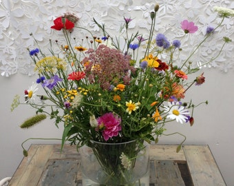 handpicked flowers (five big vases or loads of small ones)