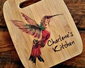Unique Personalized Gift Ideas for Hummingbird Lovers | Gifts for Clients, Bamboo Cutting Board, Name Gift, Watercolor, Wedding Gift
