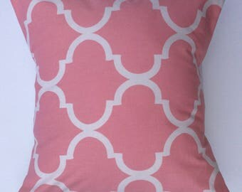 Pink and white Trellis Linen Pillow cover throw - Decorative pillow -home gifts-throw pillow - pillow cover