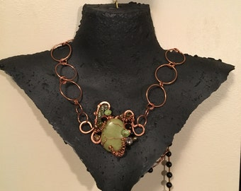 Serpentine Pendant. Artisan Copper. Organic. Freshwater Pearls. Handmade. Coiled Copper Wire. Green Pendant. Rustic. Copper chain. Raw..