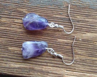 Purple amethyst dangling earrings