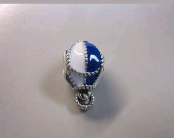 Pandora Hot Air Balloon Up and Away Blue Ename Charm/New/Fully Stamped/Threaded Core/Ale/s925
