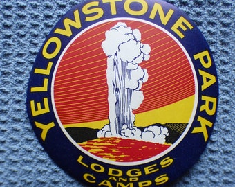 Original Vintage Yellowstone National Park decal - sticker - Lodges & Camps - Old Faithful geyser