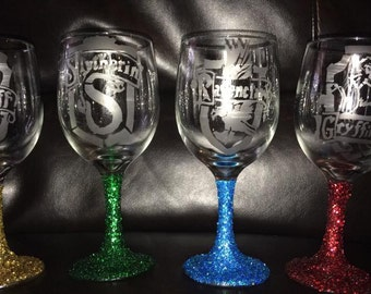 Harry potter inspired Wine glass set