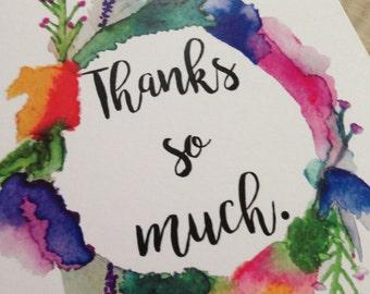 Watercolour greetings card original artwork- Thanks so much
