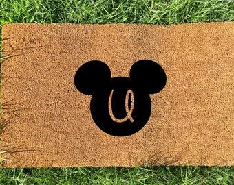 Personalized Disney doormat, mickey initial door mat, Letter U doormat, Wedding Gift, Anniversary Gift, Gifts for couples, Housewarming gift