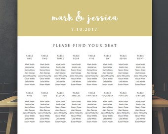 """Wedding Seat Chart Template - Seating Chart Template - Microsoft Word DOC 20"""" x 20"""" *INSTANT DOWNLOAD*"""