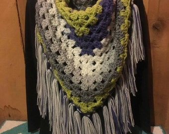 Multicolor Shawl With Fringes