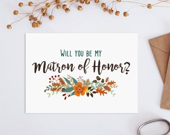 Printable will you my matron of honor card, Matron of honor card, Fall Wedding set, Autumn wedding invitation kit