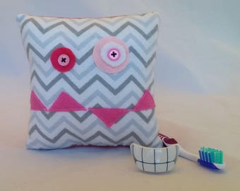 Monster Tooth Fairy Pillow - gray chevron, pink teeth, bright pink back
