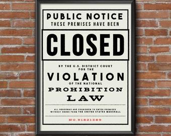 Prohibition Print, Wall Art Prints, Vintage Print, Bar Art, Man Cave, Wall Decor, Digital Print, Digital Download,Black and White Wall Art
