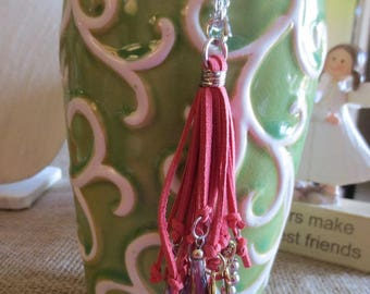 Coral Tassel with charms on it necklace
