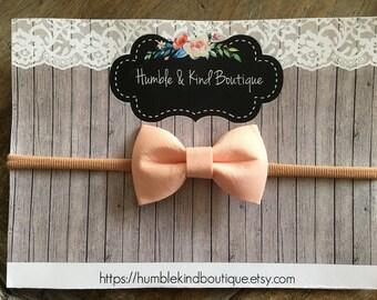 Small fabric Bow on Nylon Headband, fabric Bow, Tan Nylon, one size fits all, baby Headband, infant, toddler, mini bow,  bow