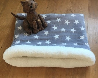 Sleeping bag, grey stars (ped bed, cat bed, dog bed)