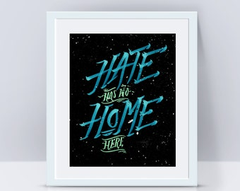 Hate has no home here, Quote wall art, Quote poster, Wall art print, Office art, Wall print, Lettering art, Typography print, Quote art