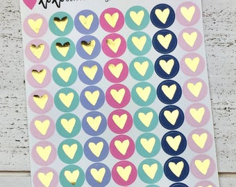 Let's Be Mermaids Gold Foiled Heart Planner Stickers