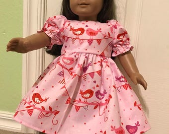 Whimsical pink love birds dress for American Girl or Other 18 inch Doll
