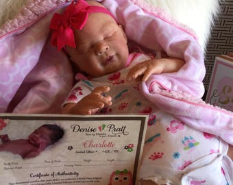 Beautiful Reborn Baby Doll Charlotte by Denise Pratt. Very lifelike doll!