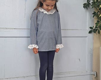 Blouse top apron blue gingham cotton lace child girl baby