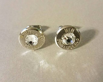 bullet earrings, handmade unique bullet jewelry, Winchester bullet with swarvoski crystal, very stylish stud earrings, best quality jewelry