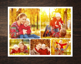 Photo Collage Template 8,5 x 11 #5, 5 photo, Storyboard Template, Photographer Template, PSD template