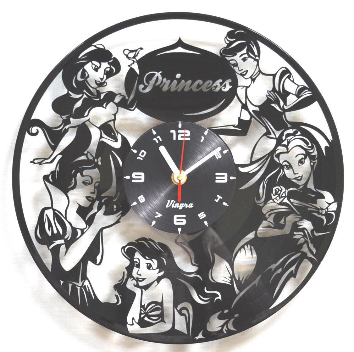 Disney princess vinyl clock cinderella kids room decor disney zoom amipublicfo Choice Image