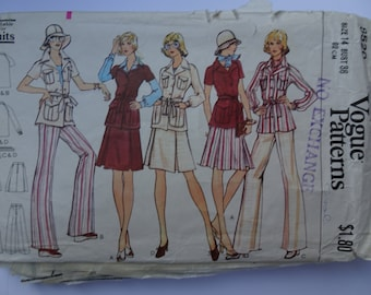 Vogue Misses Jacket Skirt and Pants Pattern 8520 Size 14 Bust 36