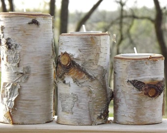 Set of 3 Fresh Cut Birch Wood Candle Holders