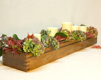 "Wood Centerpiece Box Red Oak 36"" long, Craftsmen style box, Interior window box"