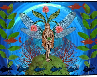 Fairy art, fantsy wall art, fairy tale art, art collage, downloadable art, digital print, photocollage, fantasy digital print
