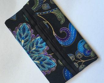 Travel tissue holder (blue/green & gold florals)