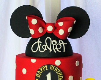 Minnie Mouse Fondant Hat & Ears Cake Topper