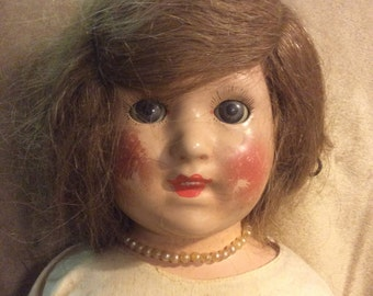 "Large 23"" Composition Mama Doll Unmarked Human Hair Wig 1920s"