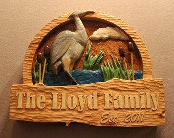 CARVED HERON SIGN | hand carved signs | hand made signs | bird sign | family name signs | cabin signs | lake house sign | vacation home sign