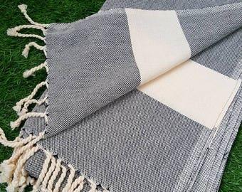 Turkish BATH Towel Peshtemal black (white striped) - natural / organic cotton / %100 cotton Beach, Spa, Swim, Pool Towels and Pareo