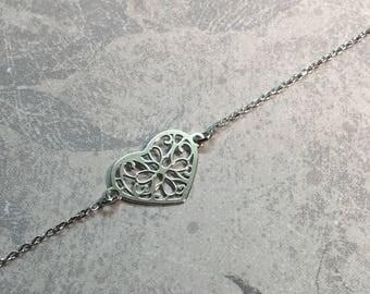 Heart bracelet in rhodium Silver 925/1000.
