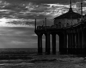 Travel Photography, Manhattan Beach Pier Photograph, California Beach, Black and White Photography Print, Cali Beach Wall Decor