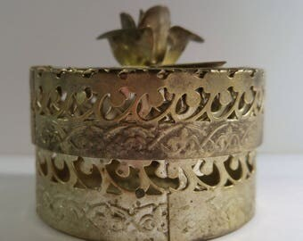 Lovely Small Vintage Pierced Metalwork Trinket Box/Arts and Crafts/Rose