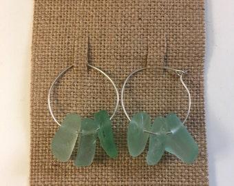 Seafoam Green Seaglass Sterling Silver Hoop Earrings