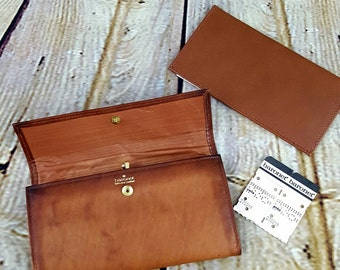 Baronet Leather Wallet with Coin Purse and Checkbook Vintage