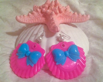 Pink and Blue Seashell Earrings
