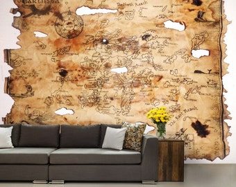 self adhesive peel and stick wall mural, kids map, old pirate map, vinly wallpaper, children world map, pirate world map, pirates map wall