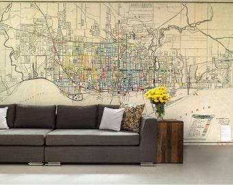 city map wallpaper, street wall mural, Toronto city map, Ontario city map, world map wall mural, Toronto wallpaper, Ontario wallpaper