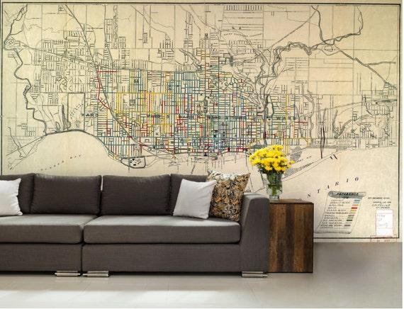 World Map Wall Mural city map wallpaper street wall mural toronto city map